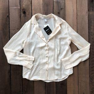 Satin Notched-Collar Shirt